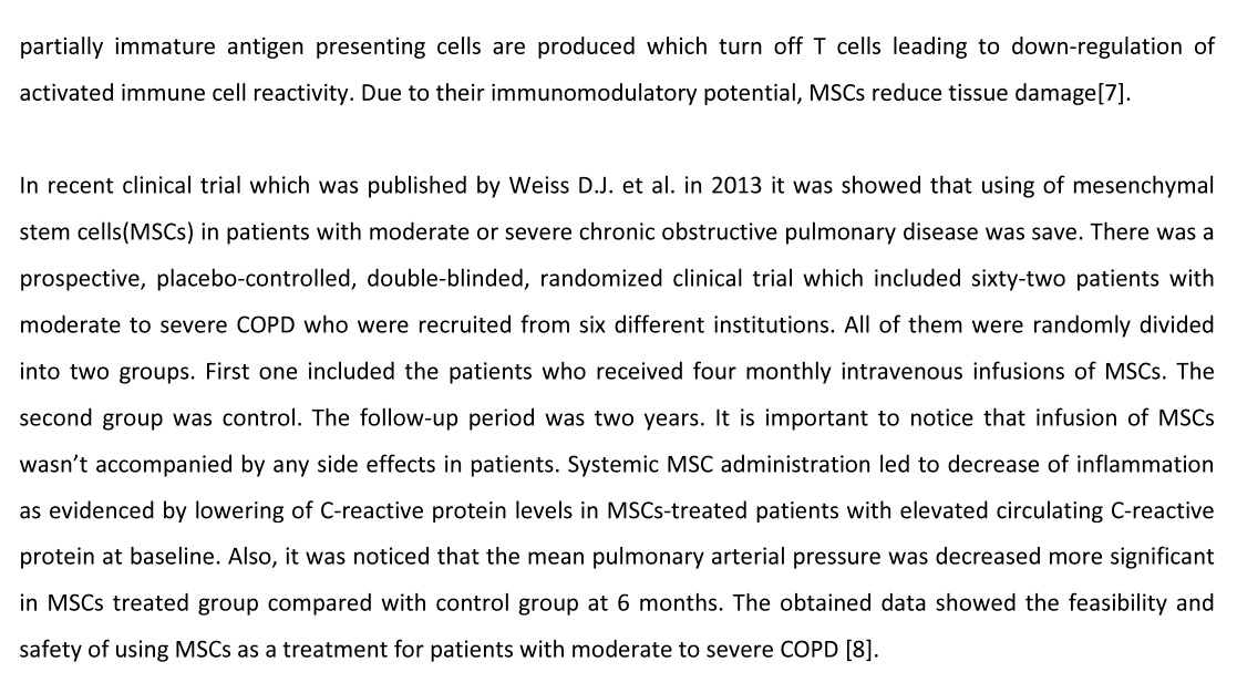 COPD Stem Cells Research | Swiss Medica