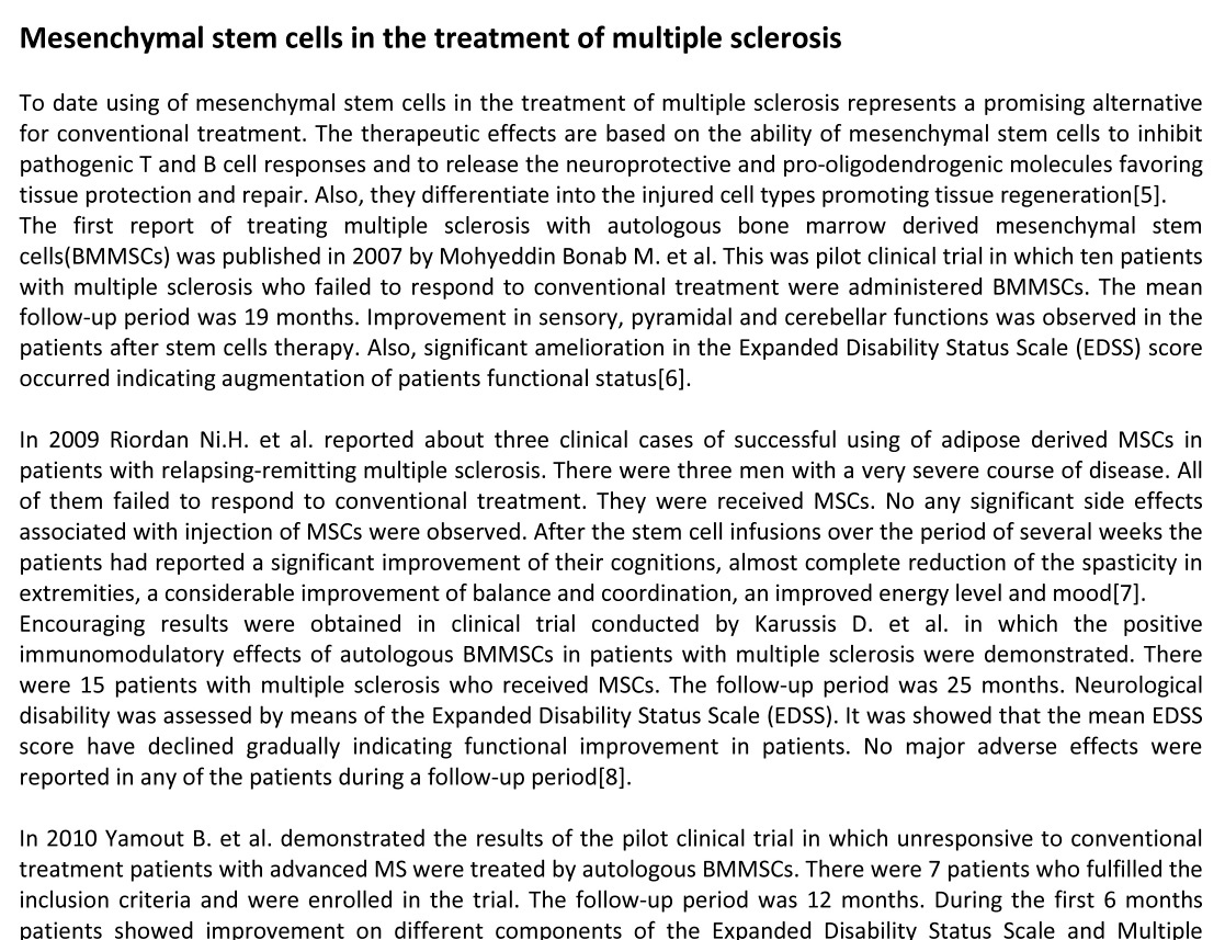 MS Stem Cells Research   Swiss Medica
